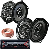 Sony Package - Sony CDX-G1150U In-Dash CD/MP3/AM/FM Receiver + Pair of K68.4S 6x8 Inchs 6x8 (5x7) 380W 4-Way + Pairs Of K69.5 6x9 700W 5-WAY Car Audio Speakers + 100ft Speaker Wire