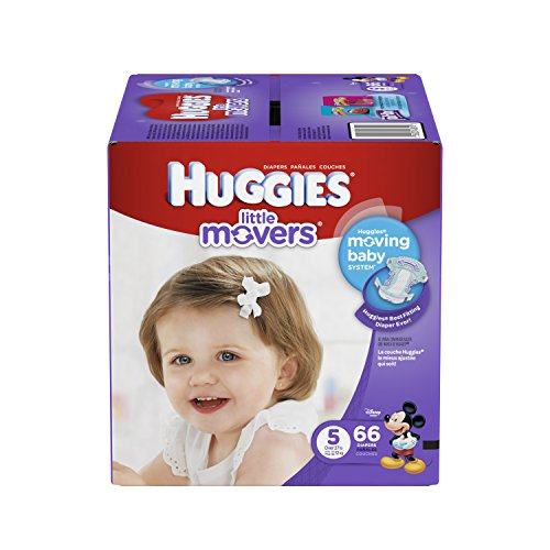 HUGGIES Little Movers Diapers, Size 5, 66 Count (Packaging May Vary)