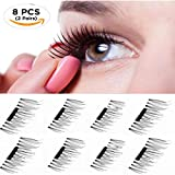 2 Pair 8 Pieces Reusable False Magnetic Eyelashes 0.2mm Ultra thin Natural Look Perfect for Deep Set Eyes & Round Eyes