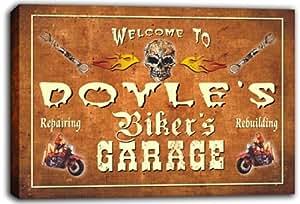 scqu1–1419Doyle garaje del motorista de la motocicleta reparación de cerveza estirada impresión DE lienzo SIGN