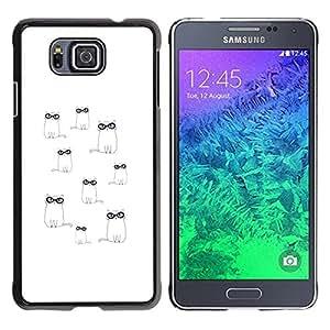 "Pulsar Snap-on Series Teléfono Carcasa Funda Case Caso para Samsung Galaxy Alpha G850 , Gafas lindo dibujo minimalista Blanca"""
