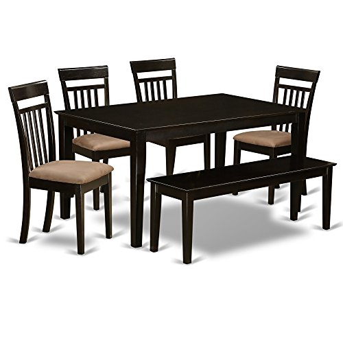 Classic 6 Piece Dining Set With Table And 4 Chairs And Bench Of Solid Wood In Brown plus FREE GIFT