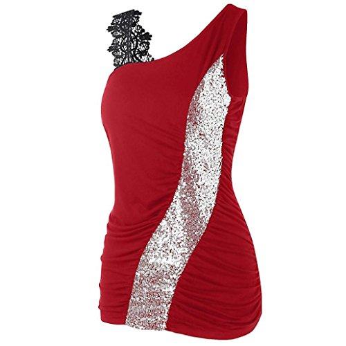 Sexyville Mode Chemisier Femmes Paillete pissure sans Manche Et Tops T-Shirt Rouge