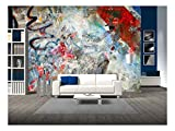 wall26 - Graffiti Background, Grunge Illustration - Removable Wall Mural | Self-Adhesive Large Wallpaper - 100x144 inches