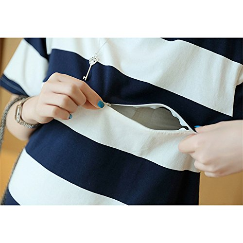 Maternity Breastfeeding Navy blue Stripe Dress XFentech Summer Sleeves Shirts T Loose Medium Fashion Women's Hp6xYBT