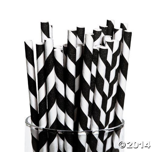Price comparison product image Fun Express Black Paper Striped Straws - 24 Pieces