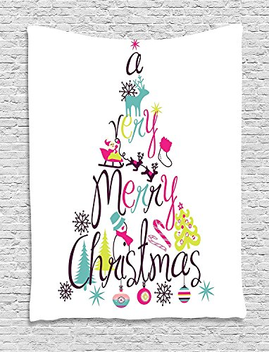 Christmas Decoration Abstract Tree Print Spelling Very Merry