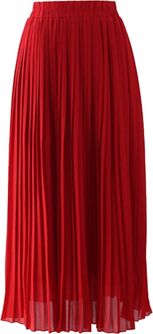 YI HENG MEI Women's Modest Muslim Chiffon Elastic Waist Long Maxi Pleated Skirt SK9007