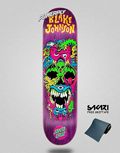 lordofbrands Santa Cruz POWERPLY Johnson RAD Skull 8.375 monopatin Skate Skateboard Deck