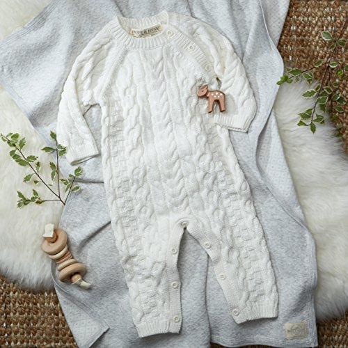 Hope & Henry Layette Ivory Cable Knit Sweater Romper Made with Organic Cotton Size 0-3 Months