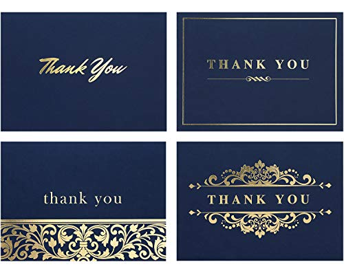 Spark Ink 100 Thank You Cards with Envelopes - Bulk Note Card Pack of Stunning Navy and Gold Foil Designs - Ideal for Business, Wedding, Bridal & Baby Shower, Graduation - 4x6 Photo Size (navy)