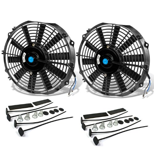 12 Inch High Performance Black Electric Radiator Cooling Fan Assembly Kit (Pack of 2)