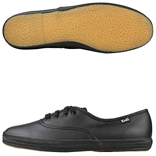 Keds Women's Champion Black/Black Leather Shoes Wide Width women's 12 by Keds (Image #1)