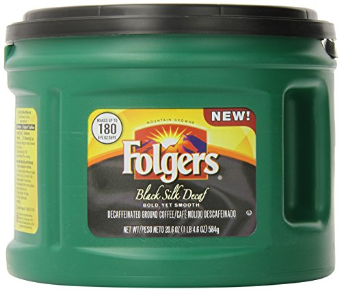 (Folgers Decaf Black Silk, Dark Roast Ground Coffee, 20.6 Ounce)