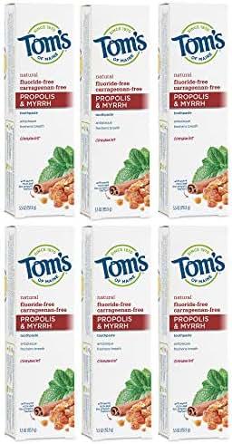 Tom's of Maine Natural Care Toothpaste, Propolis & Myrrh, Antiplaque, Cinnamint, 5.5 oz (170 g) (Pack of 6)