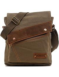liangdongshop Small Vintage Canvas&Genuine Leather Messenger Shoulder Bag Case for iPad Travel Bag