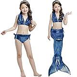 Rizoo Girls 3 Pieces Siren Swimsuits Swimwear Set Metallic Tankini with Mermaid Tail Beach Summer Bathing Suit (L (7-8), Rose Gold)