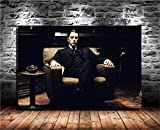 ARTZHU The Godfather,Movies,Michael Corleone Oil Paintings Modern Canvas Prints Artwork Printed on Canvas Wall Art for Home Office Decorations #10 (16x24inch(Framed))