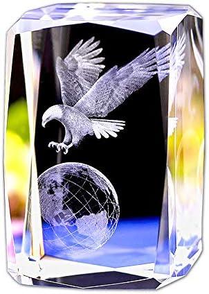 [해외]크리스탈 유리 큐 블 모델 문 진 3D 레이저 조각 인형 풍수 기념품 공예품 ... (지구의이 글) / Crystal Glass Cumable Model Paperweight 3D Laser Engraving Doll Feng Shui Souvenir Crafts ... (Earth Eagle)