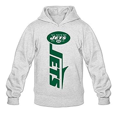 DVPHQ Men's Custom New York Logo Jets Hooded Sweatshirt Ash