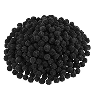 Blulu Pompoms for Craft Making and Hobby Supplies, 500 Pieces, 1.2 cm/ 0.5 Inch (Black)