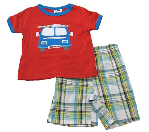 UPC 642078837357, B-One Surf Dude 2 Piece Red T-Shirt Plaid Shorts Set Boys 5