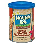 Mauna Loa All Natural Honey Roasted Macadamias (Pack of 2) 4.5 oz Cans