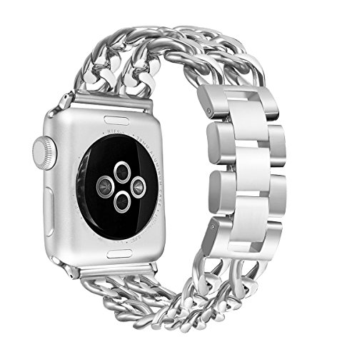 Wear Watch Chain - Secbolt Stainless Steel Bands for Apple Watch 38mm iWatch Strap Chain Replacement Wristband for Apple Watch Nike+, Series 3, Series 2, Series 1, Sport, Edition, Silver