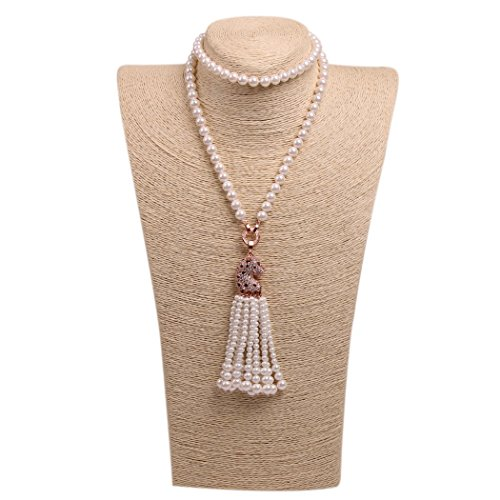 Wild Wind (TM) Valentine's Diamond Leopard Tassels Pearl Necklaces (Rose Gold Side) (Jackie 3 Piece Costumes)