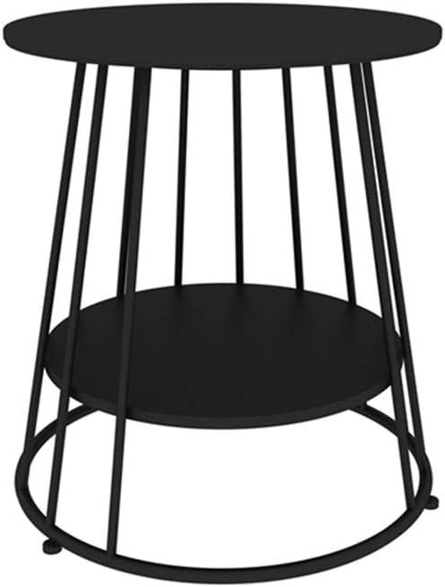 LJHA Mesa auxiliar de hierro bianzhuo, mesa redonda pequeña, mesa ...