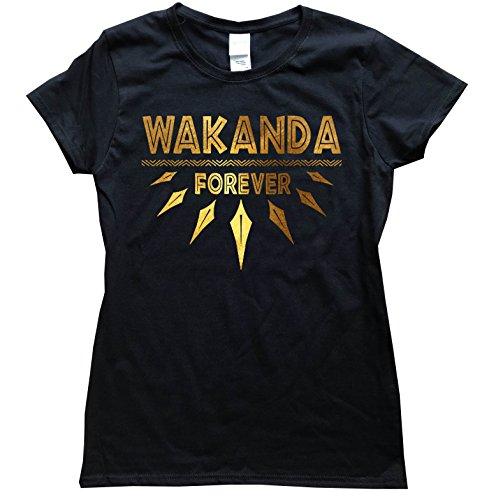 iApparel Wakanda Forever Gold Foil Women Black Shirt (Large) - Dark Womens Forever T-shirt