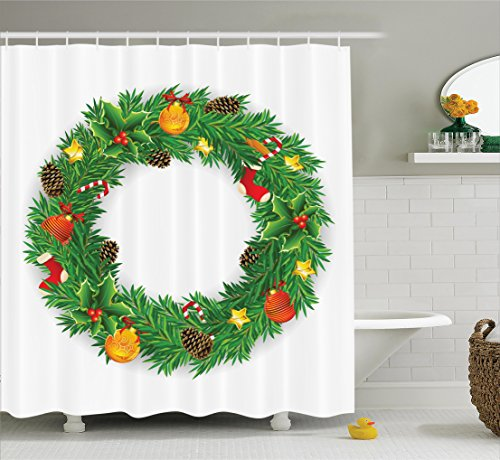 Christmas Tree Presents Stocking Wreath Red /& White Bathroom Shower Curtain