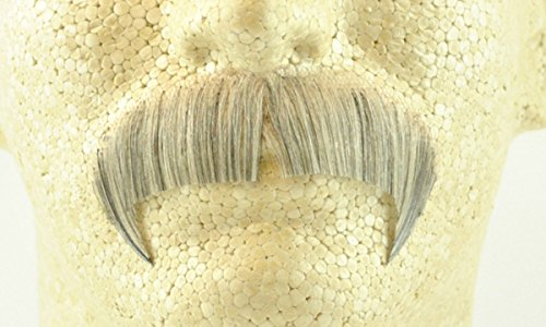 Winchester Mustache LIGHT GREY - Spirit Gum Included! no. 2028 - REALISTIC! 100% Human Hair - Perfect For Theater - Reusable!