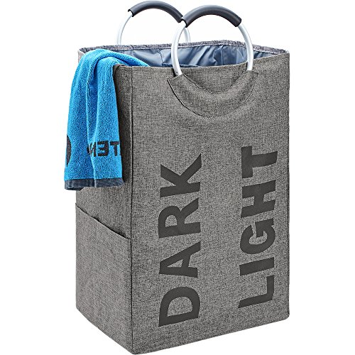 51sAFNMp5ZL - BGTREND Double Laundry Hamper Bag with Handle Easily Transport Foldable Large Laundry Basket, Grey