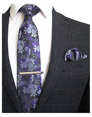 JEMYGINS Floral Blue Navy Necktie and Pocket Square Tie Clip Sets for Men (blue/white) -