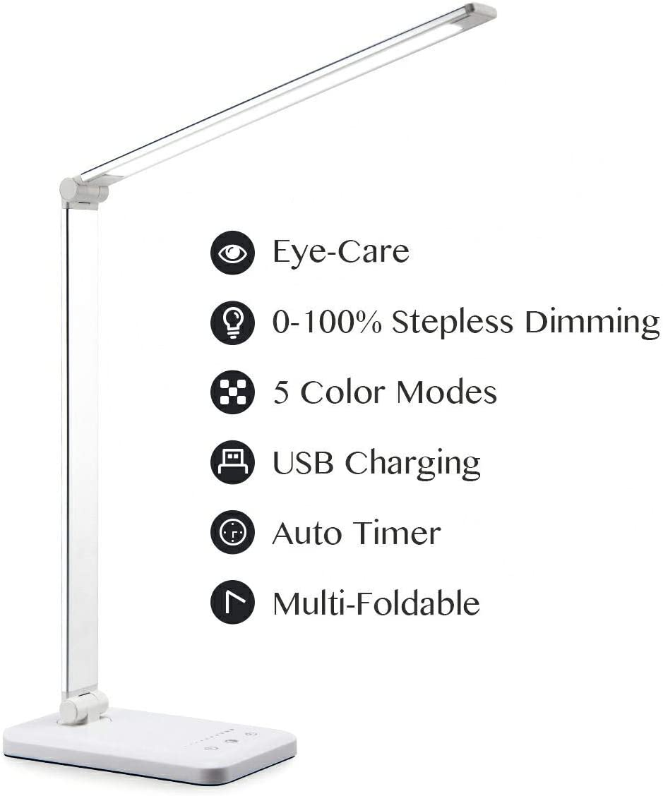 LED Table Lamp, Eye-caring Desk Lamp with USB Port, Touching Dimming Office Light, 30 60 Minutes Timer, 5 Colors Modes,0-100 Stepless Dimming, Foldable LED Lamp for Reading, Studying, Working, Sliver