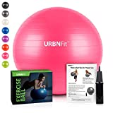 URBNFit Exercise Ball (Multiple Sizes) for Fitness, Stability, Balance & Yoga - Workout Guide & Quick Pump Included - Anit Burst Professional Quality Design (Pink, 45CM)