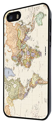 178 - Cool Fun World Map The World Look Design iphone 5 5S Coque Fashion Trend Case Coque Protection Cover plastique et métal - Noir