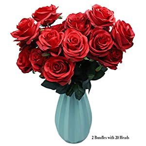DAMOOSS Red Rose Flower Bouquet 2 Bundles with 20 Heads,Artificial Silk Rose Flower Perfect for Birthdays, Wedding or Anniversary 35
