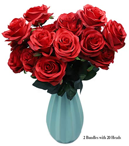 (DAMOOSS Red Rose Flower Bouquet 2 Bundles with 20 Heads,Artificial Silk Rose Flower Perfect for Birthdays, Wedding or Anniversary)