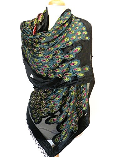 100% Pure Silk ,Handmade Beaded Peacock Fashion Scarf Shawl, Super Soft Silk Velvet Long Scarf Centered By Two Beautiful Handmade Beading Peacocks and Surrounded By Colorful Flowers.