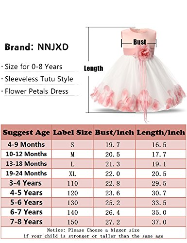 59c95ab704a NNJXD Girl Tutu Flower Petals Bow Bridal Dress for Toddler Girl  Amazon.ca   Clothing   Accessories