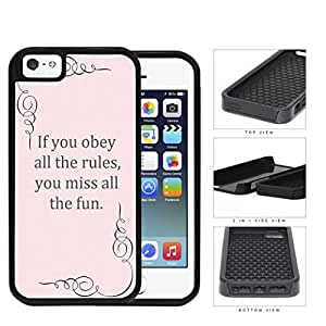 Pink Obey Rules Quote 2-Piece Dual Layer High Impact Rubber Silicone Cell Phone Case Apple iPhone 5 5s