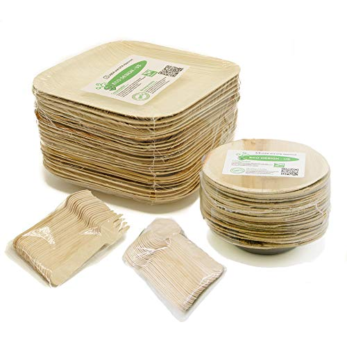 (Party Set of 100 Eco-Friendly Dinnerware - 10