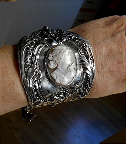 Antique Cameo on Sterling Silver Floral Wide Cuff, Shell Cameo of Victorian Woman Wearing a Bird Wing Fascinator Hat, Hanging Tendrils OOAK ()