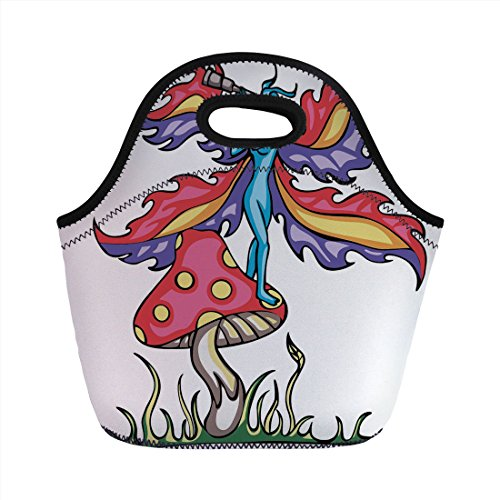 - Neoprene Lunch Bag,Mushroom,Fairy Elf on Agaric Mushroom with Monocular Tube Colorful Artistic Wings Mythical Decorative,Multicolor,for Kids Adult Thermal Insulated Tote Bags
