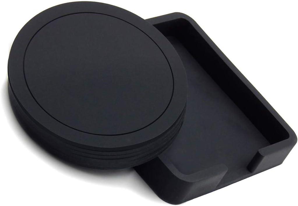 per tazze da caff/è set da 6 pezzi colore: nero birra Sottobicchiere rotondo in gomma siliconica