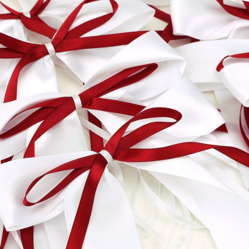 Pew Bows Wedding Satin - Satin Ribbon Bows For Wedding Pew Gift Box Favours Card Party Decorations DIY (10 red/white)