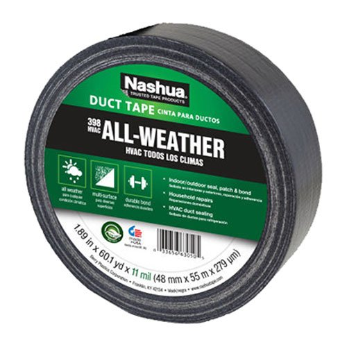 Nashua 398 Duct Tape (Nashua Polyethylene Coated Cloth Industrial Grade Duct Tape, 11 mil Thick, 55 m Length, 48 mm Width, Black)