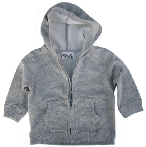 Dirty Fingers - Baby & Toddler Hoodie with Zip front and Kangaroo pocket in Washed Grey, 6/12 months